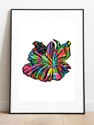 Hibiscus Rocks Art Print