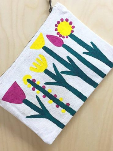 Floral Yellow hand painted pouch