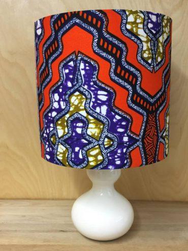 African wax print lampshade in orange, purple & mustard (20cm)