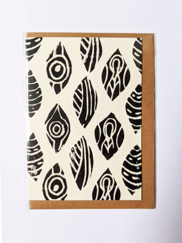 Repeat Shield Linocut Greeting Card