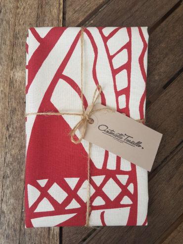 Maasai Shield Teatowel – Burgundy