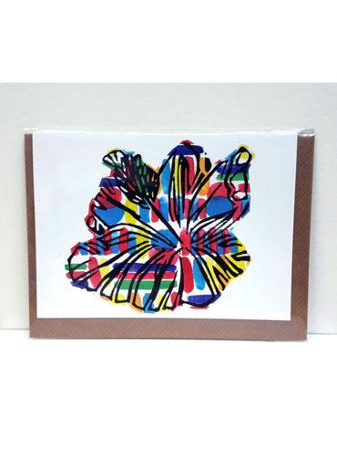 Beyond Hibiscus Linocut Greeting Card